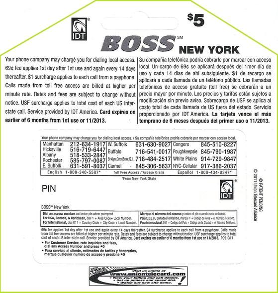 phone card boss new york 5 - Payphone Calling Cards
