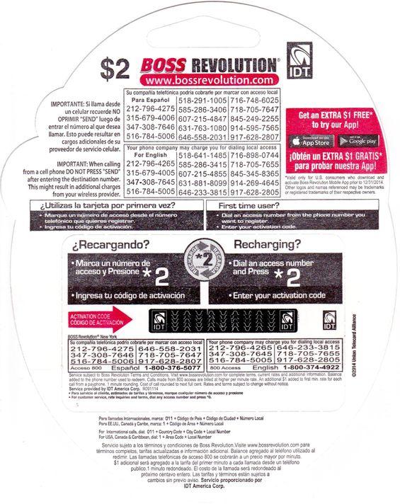 BOSS Revolution Phone Cards 10 52 Buy Boss Revolution