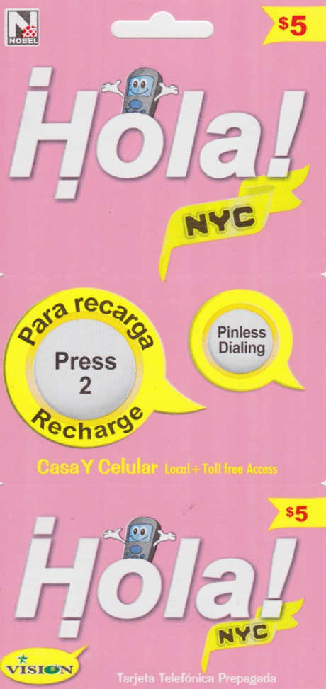 hola nyc phone card 5 phonecardnycom - Pinless Calling Card